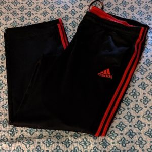 Adidas Red black stripes athletic pants 2xl